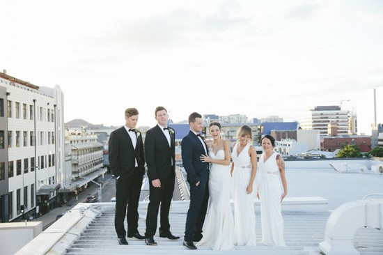 Bridal party on rooftop
