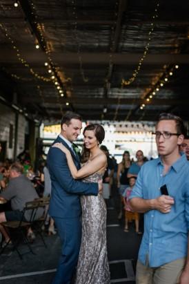 Bride and groom in market