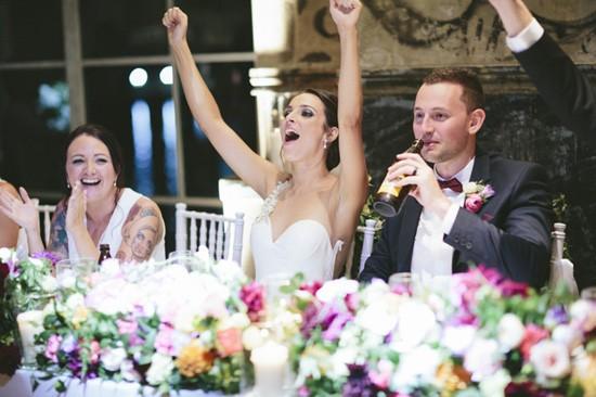 Bride cheering during speeches