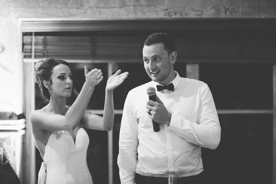 Bride clapping groom