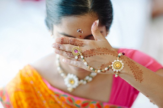 Bride having her eyes covered at Indian wedding