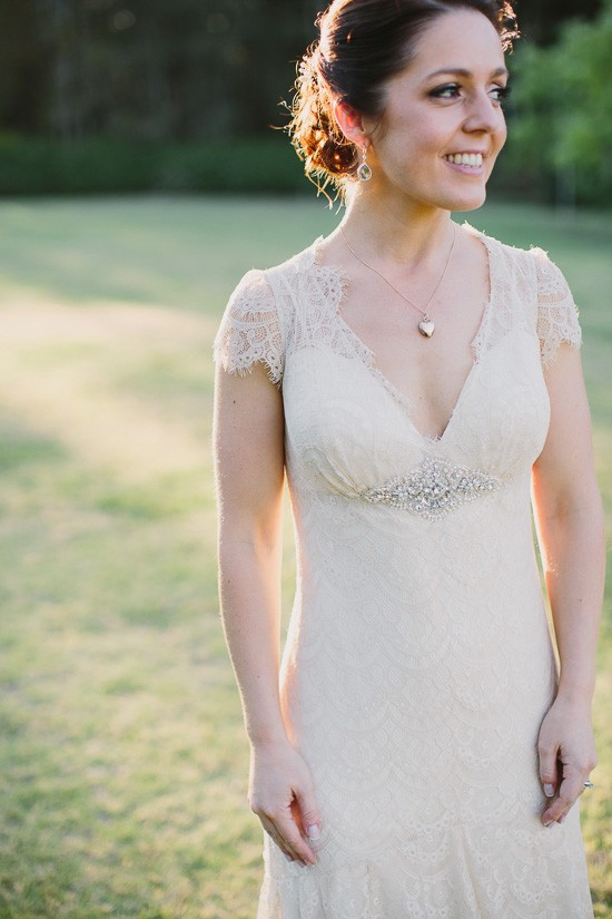 Bride in Taupe wedding dress