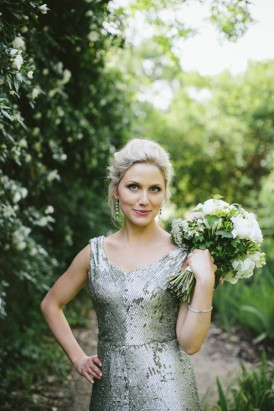 Bride in pistachio green dress