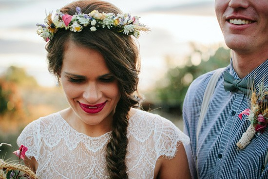 Bride with red lips and braid