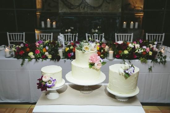 Cake trio at wedding