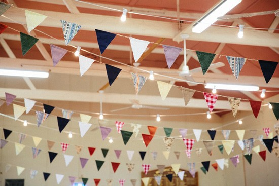 Colouful bunting at wedding