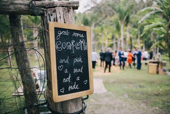 Confetti wedding sign