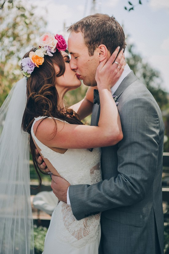 First kiss at country wedding
