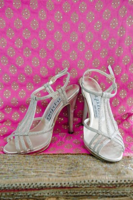 Glitter silver wedding shoes