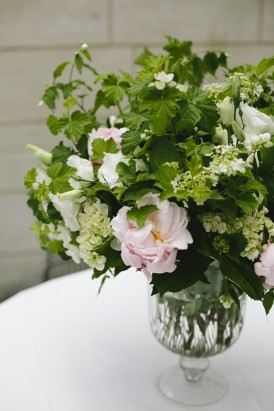 Greenery flower arrangement with pink