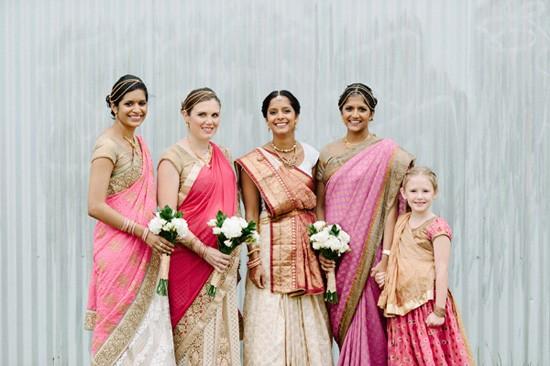 Indian Wedding bride with bridesmaids in saris