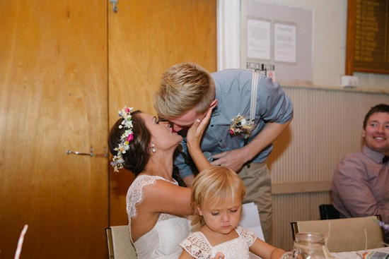 Kissing during wedding speeches