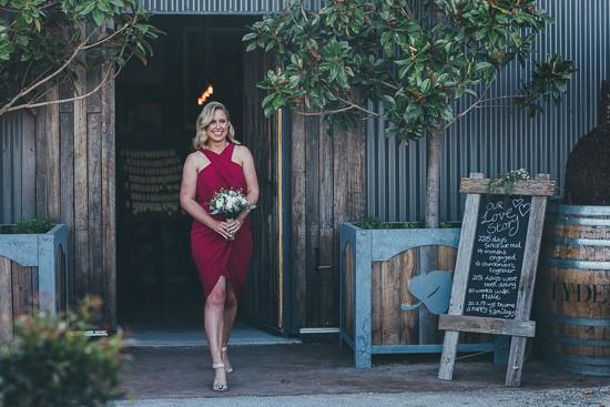 Raspberry red wedding dress