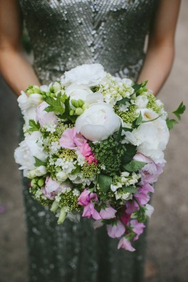Sweetpea peony and queen anne lace bouquet
