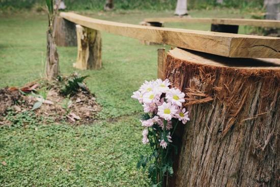 Tree stump ceremony chairs