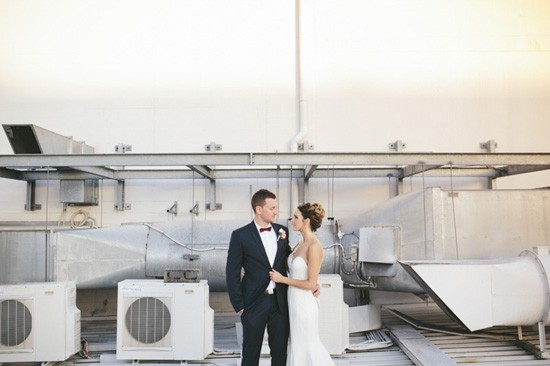 Wedding photo with industrial backdrop