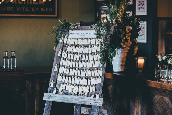 Wedding seating chart with pegged cards
