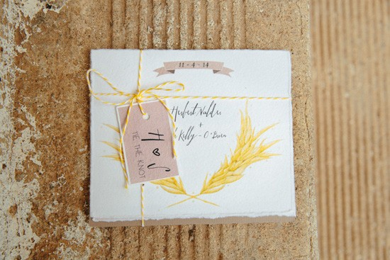 Wheat inspired wedding invvitations