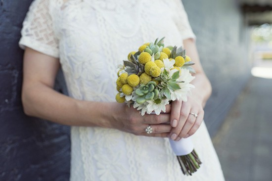 Billy button and succulent wedding bouquet