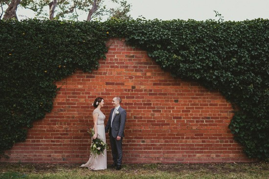 Brick wall wedding portrait Canberra