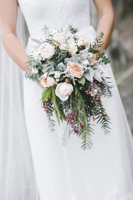 Bridal bouquet with peppberberries