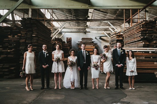 Bridal party photo in warehouse