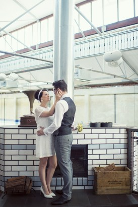 Bride and groom in sixties style wedding