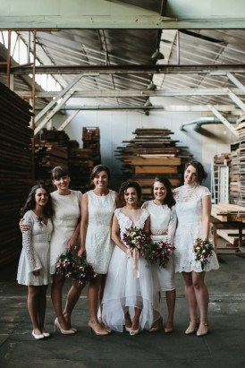Bride with bridesmaids in white dresses