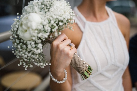 Bride with pearl bracelet