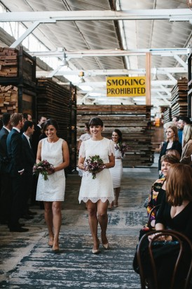 Bridesmaids at Melbourne warehouse wedding