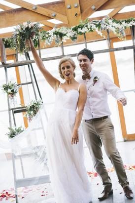 Cheering after wedding ceremony