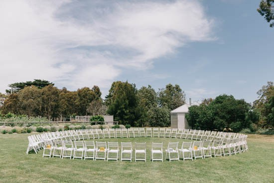 Circle of chairs at wedding ceremony