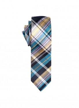 Cyan, yellow&grey cross check tie