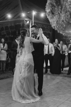 Dance floor outside at country wedding
