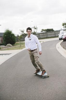 Groom on skateboard