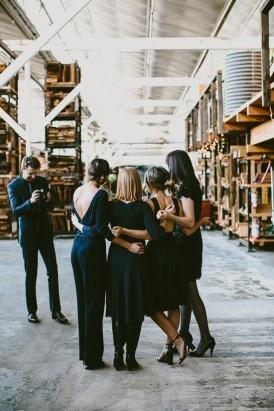 Guests before warehosue wedding