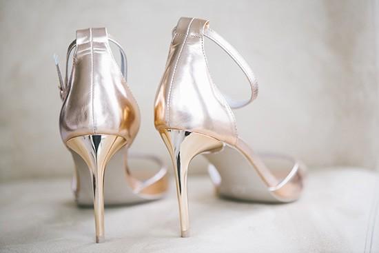 Metallic rose gold wedding shoes