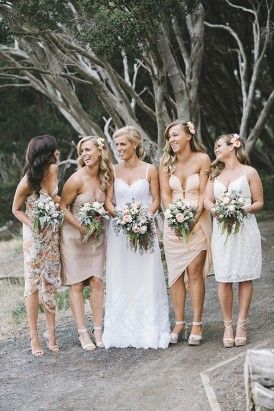 Mismatched bridesmaid dresses in taupes