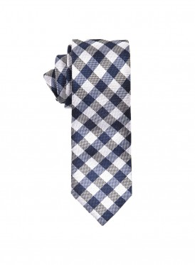 Navy gingham check tie