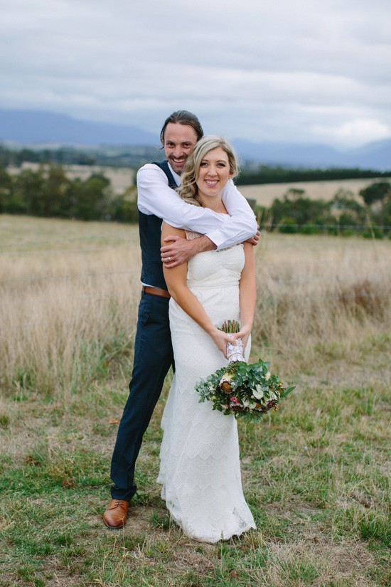 Newlyweds in country