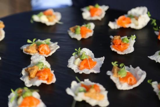 Salmon sashimi, rice crisp, wasabi kewpie, soy mousse