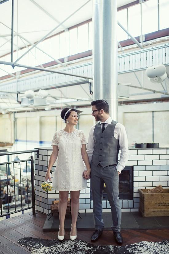 Sixities inspired wedding portrait