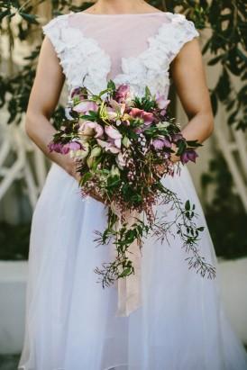 Trailing wedding bouquet with jasmine