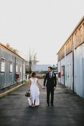 Urban lane wedding photo