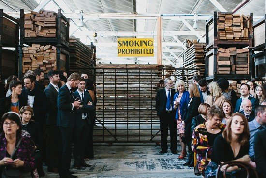 Wedding ceremony in warehouse