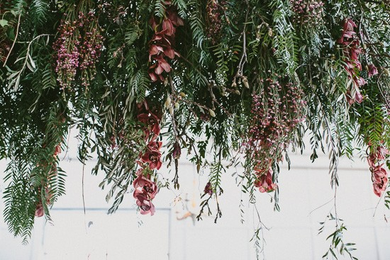 Wedding decor of hanging pepperberry branches