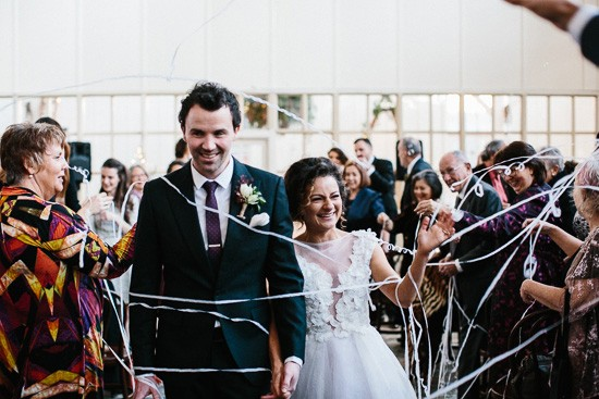Wedding exit with streamers