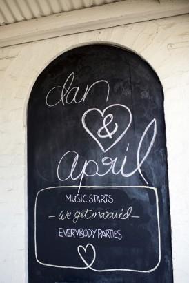Wedding schedule chalkbaord