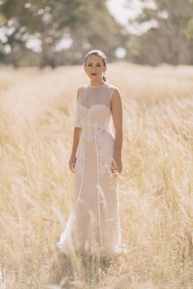 Yulia Mc Couture Wedding Gown With mesh Overlay