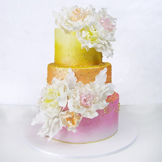 Gold and Pink Ombre Wedding Cake